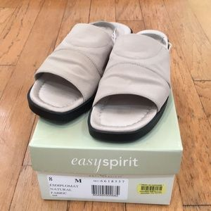 Easy Spirit Sling Back Fabric Sandals 8M tan
